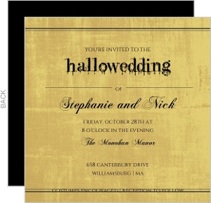 Old Fashioned Gold Script Halloween Wedding Invite