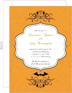 Formal Orange Scroll Halloween Wedding Invite