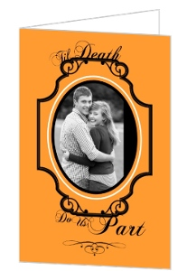 Orange and Black Elegant Halloween Wedding Invitation