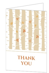 Birch Tree and Fall Leaves Thank You Card