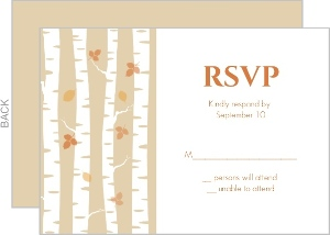 Birch Tree and Fall Leaves Response Card