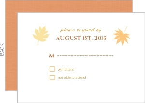 Multi Colored Fall Leaves Wedding Response Card