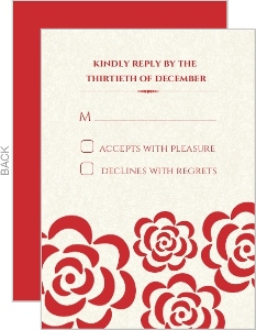 Red Flowers Winter Holiday Wedding Response Card