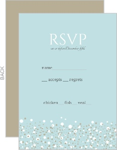 Blue and Taupe Snow Winter Wedding Response Card