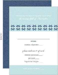 White And Navy Sweater Wedding Response Card