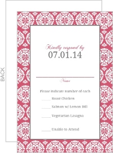 Papaya and White Floral Pattern Response Card