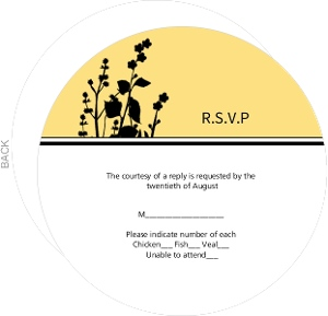 Marigold and Black Floral Silhouette Response Card