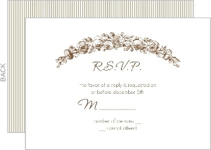 Brown and White Antique Response Card