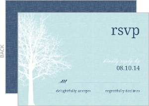 Navy Blue Winter Tree Response Card