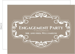 White Floral Frame Engagement Party Invitation