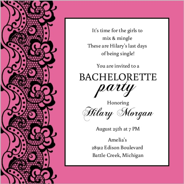 Black Lace and Pink Bachelorette Party Invitation Parties and Showers
