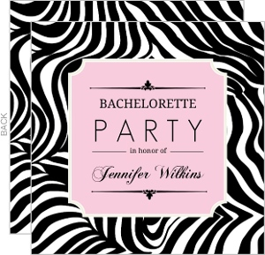 Zebra Print Pink Frame Bachelorette Party Invitation