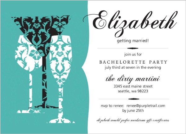 turquoise damask drinks bachelorette party invitation parties and