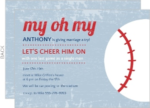 Blue Baseball Bachelor Party Invitation