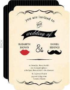 Vintage Mustache Wedding Invitation