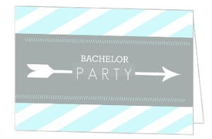 Blue Modern Stripe and Arrow Bachelor Party Invitation