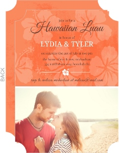 Tangerine Floral Hawaiian Luau Couples Shower Invite