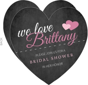 Black and Pink Chalkboard Bridal Shower Invite