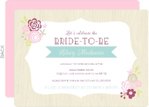 Pink Floral Frame Bridal Shower Invite