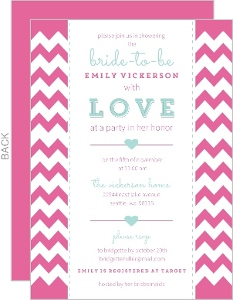 Aqua and Pink Chevron Bridal Shower Invite