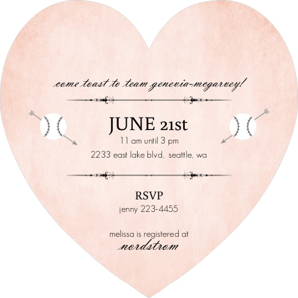pink heart baseball bridal shower invite parties and showers