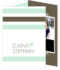 Mint and Brown Soft Stripes Wedding Invitations