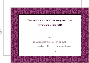 Sangria and Black Elegant Damask Response Card