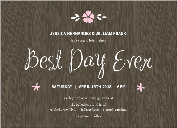 Best Day Ever Brown Wedding Invite Wedding Invitations