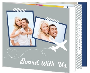 Destination Blue and Gray Plane Wedding Invite