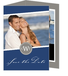 Navy and Gray Monogram Save the Date