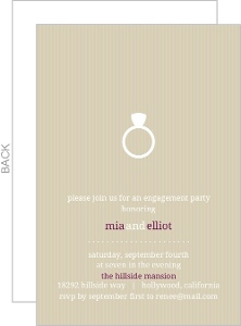 Simple Taupe and White Ring Engagement Party Invite