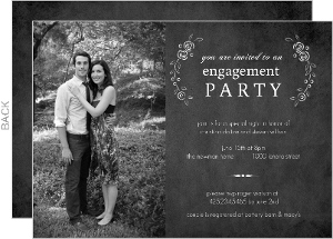 Black Chalkboard Roses Engagement Party Invites