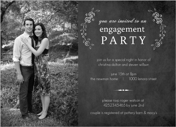 Black chalkboard roses engagement party invites engagement party black chalkboard roses engagement party invites stopboris Image collections