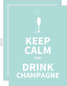 Blue Keep Calm Champagne Glasses Engagement Party Invite