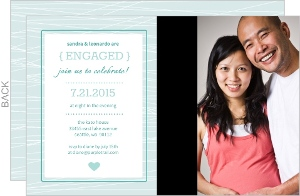 Blue Striped Engagement Party Invitation