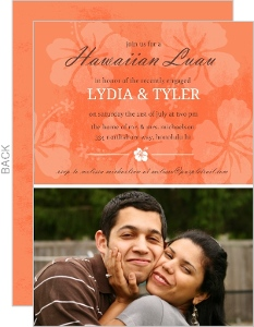 Tangerine Floral Hawaiian Luau Party Invite