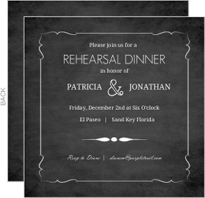 Vintage Chalkboard Photo Wedding Rehearsal Dinner Invitation
