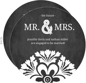 Black and White Chalkboard Engagement Party Invite