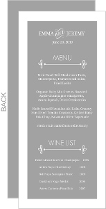 Gray Whimsical Wedding Menu