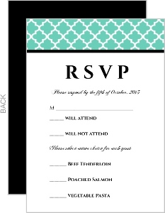 Turquoise Pattern Elegant Wedding Response card