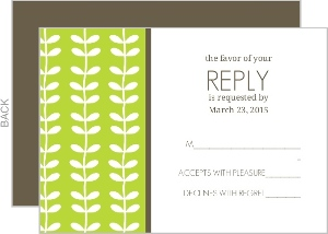 Green Spring Pattern Wedding Response Card