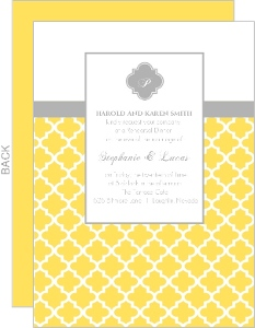 Yellow and Gray Pattern Rehearsal Dinner Invite
