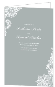 Gray and White Lace Wedding Program