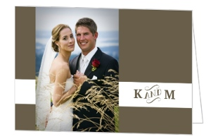 Olive Intricate Frame Wedding Thank You Card