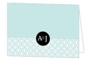 Turquoise Monogram Wedding Thank You Card