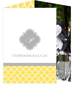 Yellow and Gray Pattern Wedding Thank You Card