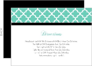 Turquoise Pattern Elegant Wedding Enclosure Card