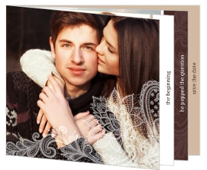 Brown and White Lace Save The Date