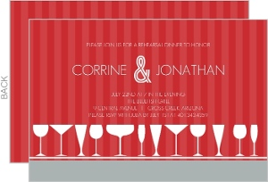 Red and Gray Journey Rehearsal Dinner Invitation
