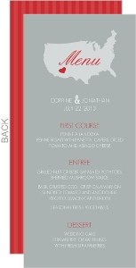 Red and Gray Journey Wedding Menu